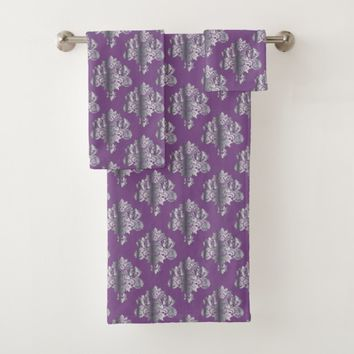 Metallic Damask Pattern Bath Towel Set