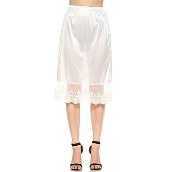 Long single lace satin underskirt skirt extender half slip for lengthening