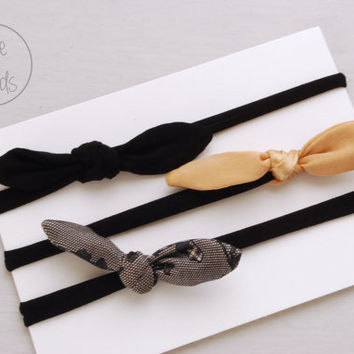 BLACK  Set Thin Top KNOT Headband Bow Headband You PICK Toddler Headband Set Headband Baby Bow Headband Knot Headband