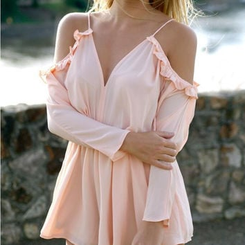 Off Shoulder V-Neck Flounced Long Sleeve Romper