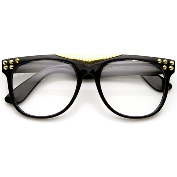 Fashion Spiked Retro Flat Top Clear Lens Horned Rim Glasses 8885