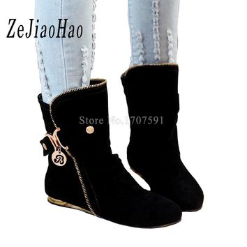 Fashion designer flat Shoes for women cheap outdoor winter snow cute ladies mid calf boots platform cowgirl woman footwear lmt-5