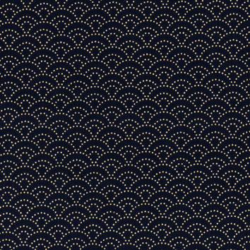 Navy Seigaiha Waves Japanese cotton fabric