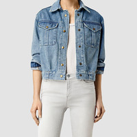 ALLSAINTS US: Womens Rex Boxy Military Denim Jacket (Indigo Blue)