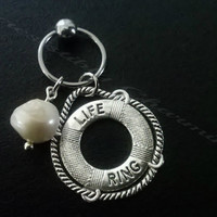 316L Surgical stainless steel captive ring Helix, cartilage, earring with Life Ring charm and freshwater pearl