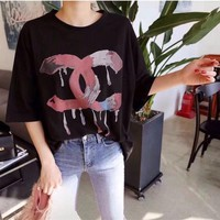 """Chanel"" Women Personality Letter Print Short Sleeve Casual T-shirt Top Tee"