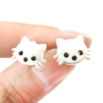 Tiny Kitty Cat Shaped Animal Stud Earrings in Silver with Allergy Free Posts | Animal Jewelry