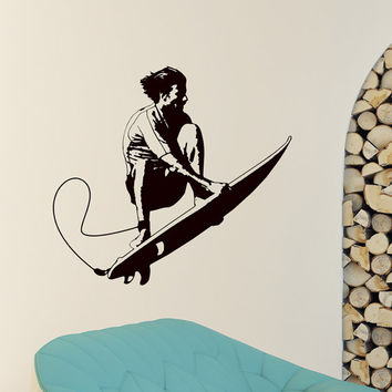 Sports Wall Decal Vinyl Sticker Surfboard Surf Sport Sportsman Wall Decals Bedroom Dorm Boy Nursery Teen Kids Room Wall Art Home Decor Z841