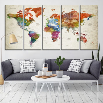 96084 - Large Wall Art World Map Canvas Print- Custom World Map Push Pin Wall Art- Custom World Map Canvas Poster Print- Personalized Wall Art
