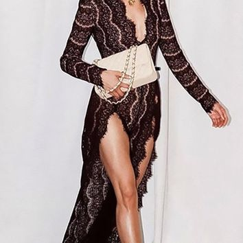 Totally Transparent Sheer Lace Long Sleeve Plunge V Neck Double Slit Maxi Dress - 2 Colors Available