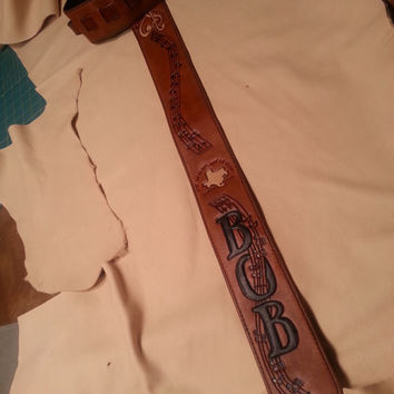 """Leather GUITAR STRAP """"Musical Note Meander"""" Custom Designed With you ~  Carved and Stamped on soft supple leather -clbLeatherDesign"""