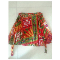 Mini Indian Vintage look floral short skirt, Autumn colors wrap skirt,Red Christmas theme mini skirt with vibrant colors,trending Gift items
