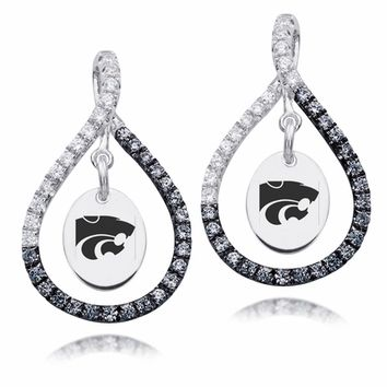Kansas State Wildcats Sterling Silver Black and White CZ Figure 8 Style Earrings With Free Shipping
