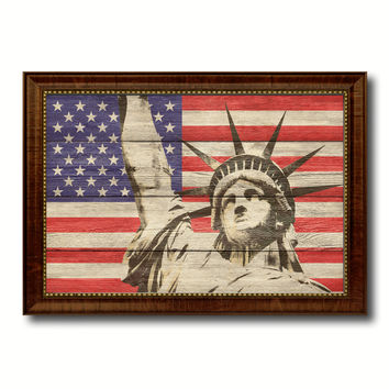 Statue of Liberty American Flag Texture Canvas Print with Brown Picture Frame Gifts Home Decor Wall Art Collectible Decoration Artwork