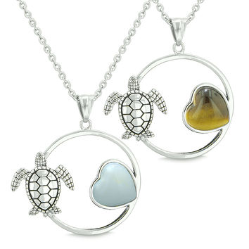Amulets Cute Sea Turtles Love Couples Set Heart Simulated Opalite Tiger Eye Pendant Necklaces