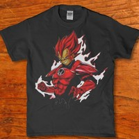 Super saiyan dbz on fire super hero adult unisex t-shirt