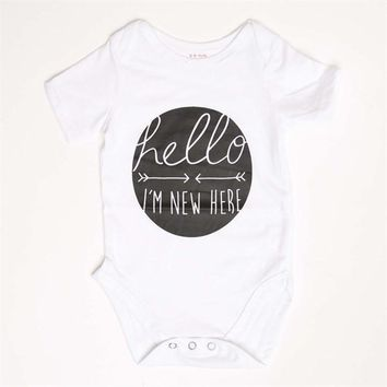 Hello I'm New Here Print Unisex Cotton Onesuit