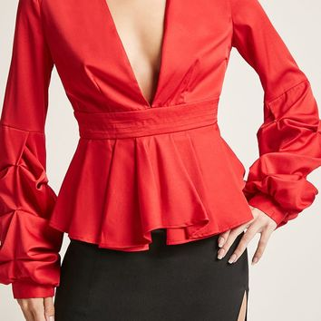 Plunging Pleated Top