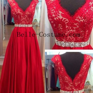 Red Open Back Prom Dress, Red Lace Evening Dress, Red Lace Formal Prom Dress