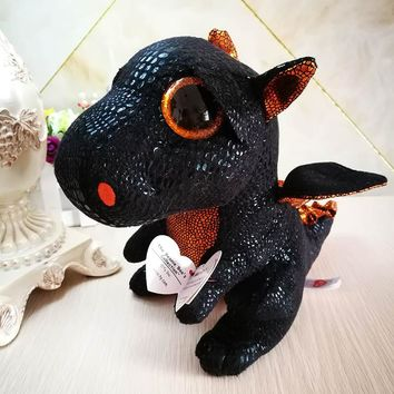 25cm 10'' Ty Original Beanie Boos Plush Toy Merlin black Dragon Stuffed Animal Doll Big Eye Kids Toy Soft Cute Birthday Gift