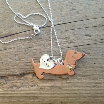 One Dachshund on a Chain Doxies with Custom Heart Tag Necklace Pendant