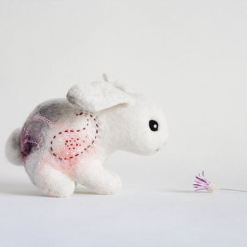 Little Felt Bunny - Paisley. Art Toy Handmade Felted Hare Stuffed gift kids baby shower gift nursery decor white pink. SPECIAL ORDER for Ada