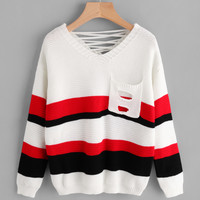 Striped Lace Up Back Sweater With Ripped Pocket