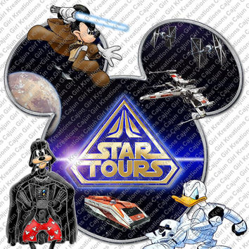 Star Tours Star Wars Mickey Mouse Head Disney World Printable Digital Iron On Transfer Clip Art DIY Tshirts Can Be Personalized