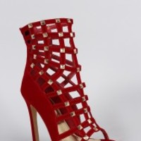Suede Studded Caged Stiletto heel