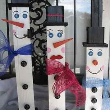Primitive Wood Snowman Family 4x4 Fence Post Snowman Christmas Decoration