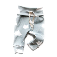 Organic Drawstring Baby Leggings Slate Clouds