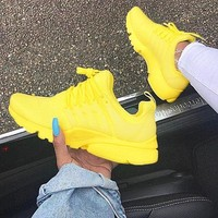 """NIKE""Air Presto  Women Fashion Running Sport Casual Shoes Sneakers yellow white soles H-AA-SDDSL-KHZHXMKH"