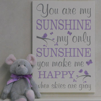 You Are My Sunshine Wall Art, Lullaby Art Nursery Decor, Song Rhyme Quote Artwork, Light Purple Sunshine Wall Quote Nursery Song, Kids Decor