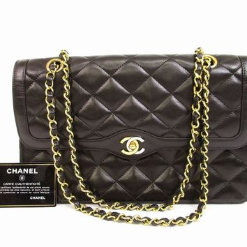 Auth CHANEL Lamb Leather Matelasse Blacks Double Flap Chain Shoulder Bag #6202