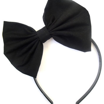 Black BOW headband ROCKABILLY Pin Up girl GaGa