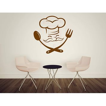 Large Vinyl Decal Cheerful Chef Master Chef Fork Spoon Wall Sticker (n577)