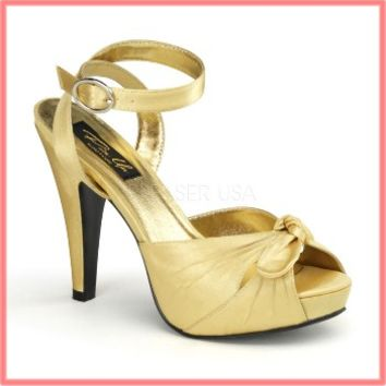 Pinup Couture Gold Peep Toe Platform Heels-1940s Vintage Style Shoes