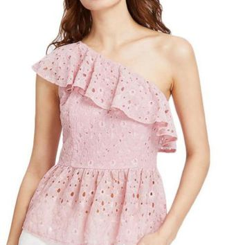 Floral Lace Top Pink One Shoulder Cute Blouse Women Sexy Flounce Tops Ruffle Cut Out Elegant Blouse