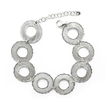 Chained Discs with Silver Ripples, Bracelet