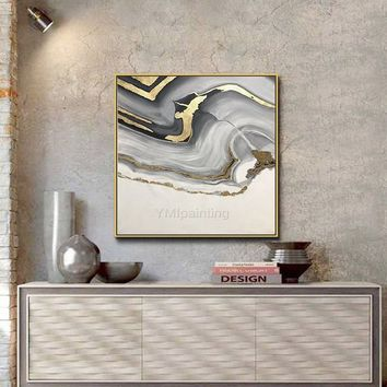 Modern abstract acrylic painting on canvas gold gray original extra large wall pictures for living room home decor cuadros abstractos