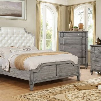 Furniture of america CM7856 5 pc Ganymede collection gray finish wood queen padded and tufted bedroom set