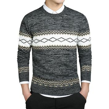 Argyle Pattern Sweaters Basic Men Sweater Wool Knitwear Casual Pullovers Winter
