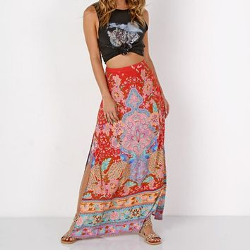 Boho Peacock Print Long Skirt and Blouse