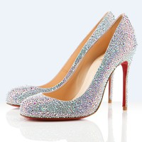 Christian Louboutin Specchio Leather And Strass Pump
