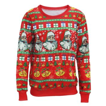 Ugly Christmas Sweater Men Women Santa Claus X-mas Tree Reindeer Patterned Sweaters New Middle Long Pullovers Print Sweater A2