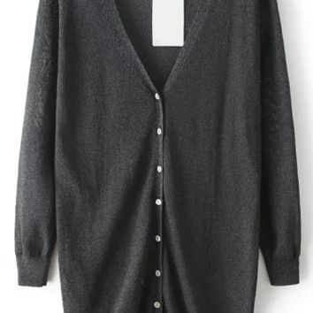 Black V Neck With Buttons Long Sleeve Knit Cardigan