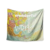 "Libertad Leal ""What a Wonderful World"" Map Wall Tapestry"