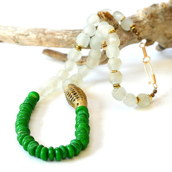 African jewelry, African necklace, Coconut bead necklace, Recycled glass bead necklace, Coconut jewelry, African bead necklace, Coconut bead