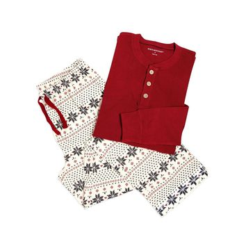 Henley & Hand Drawn Snowflakes Adult Mens Holiday Lounge Pants & Tee