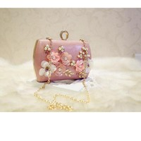 Appliques Women Clutch Flower Beaded Evening Bags Chain Shoulder Messenger Handbags For Party Evening Bag High Quality Luxury